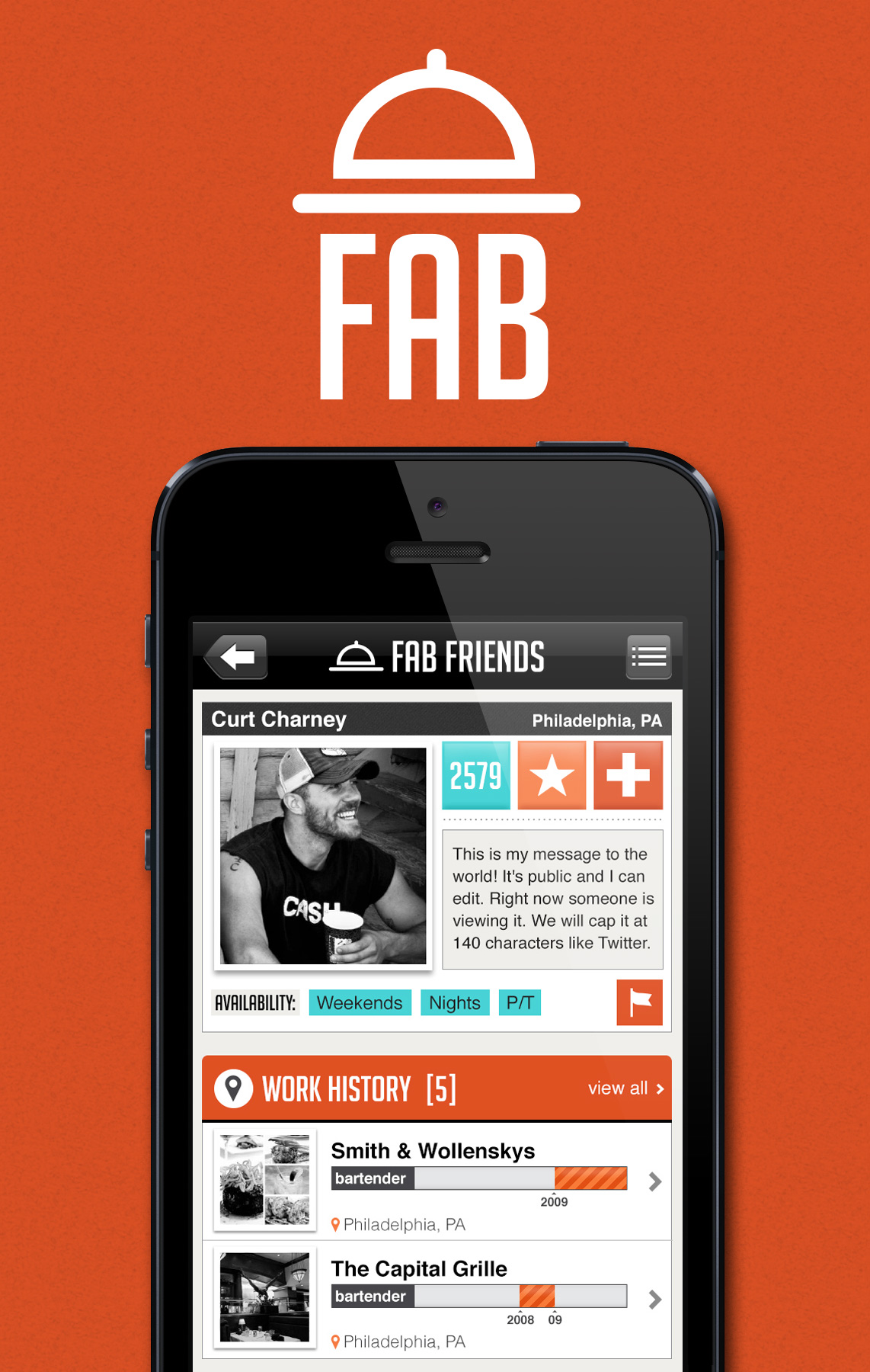 FAB Friends iPhone Application Design